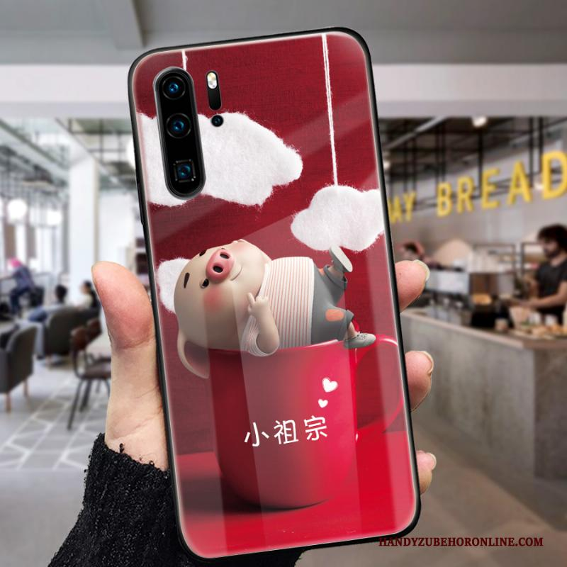 Huawei P30 Pro Hoesje Telefoon Anti-fall Lovers Mooie Spotprent Rood Net Red
