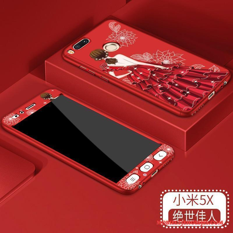 Mi 5x Hoesje Hard Tempereren Rood All Inclusive Trend Anti-fall Bescherming