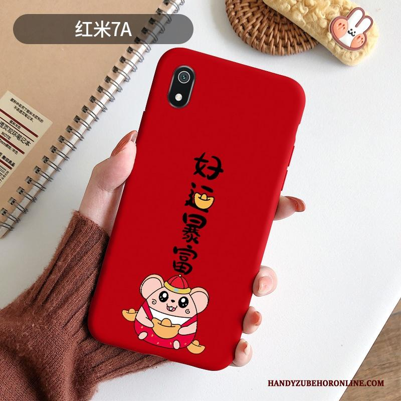 Redmi 7a Hoesje Mooie Scheppend Spotprent Zacht Grote Rood Chinese Stijl