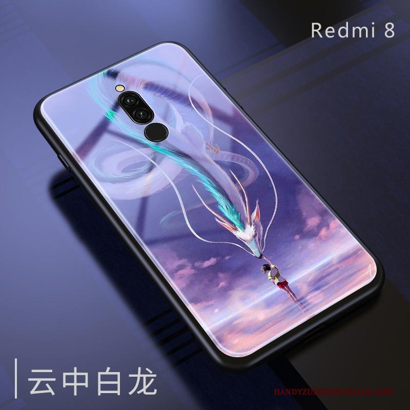 Redmi 8 Hoes Hoesje Telefoon Spiegel Anti-fall All Inclusive Purper Zacht
