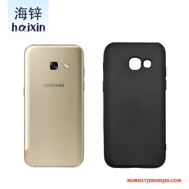 Samsung Galaxy A3 2017 Bescherming Zwart Schrobben Hoes Ster All Inclusive Hoesje Telefoon