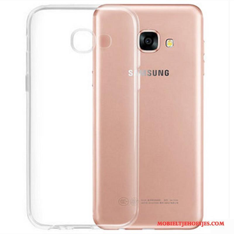 Samsung Galaxy A3 2017 Hoesje Hoes Doorzichtig Zacht Siliconen Wit Ster Bescherming