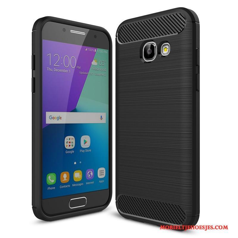 Samsung Galaxy A3 2017 Hoesje Zacht Zijde Anti-fall Fiber Zwart Mobiele Telefoon