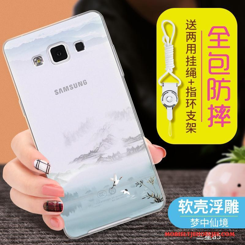 Samsung Galaxy A5 2015 Blauw Anti-fall Ster Hoes Hoesje Doorzichtig Siliconen