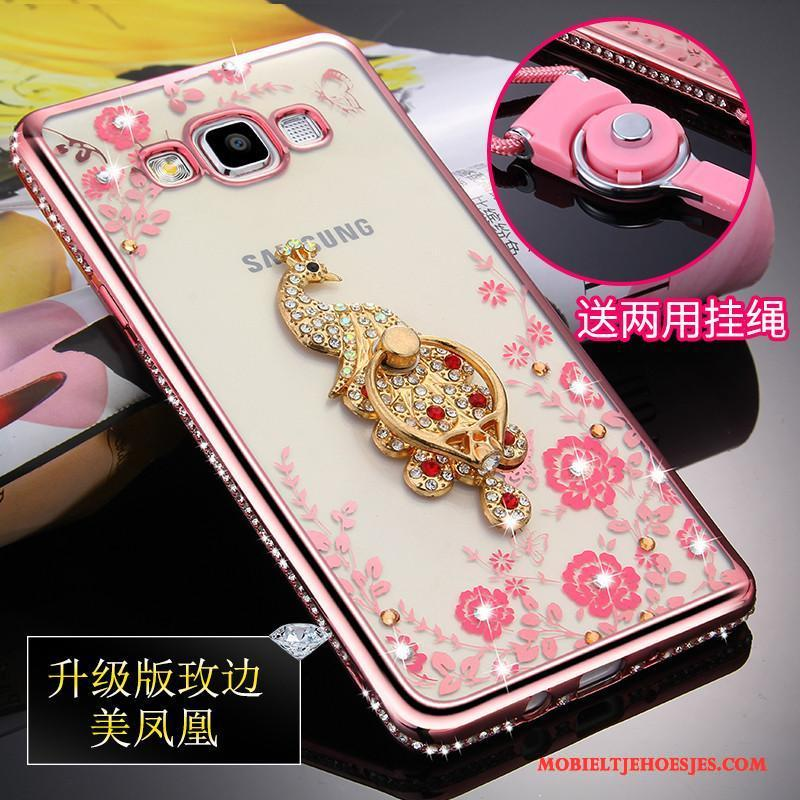 Samsung Galaxy A5 2015 Ster Hoesje Siliconen Anti-fall Rose Goud Hanger Doorzichtig