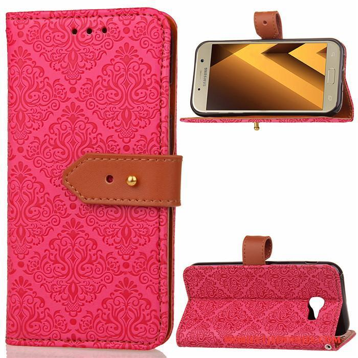 Samsung Galaxy A5 2017 Hoesje Clamshell Ster Leren Etui Anti-fall All Inclusive Rood Siliconen