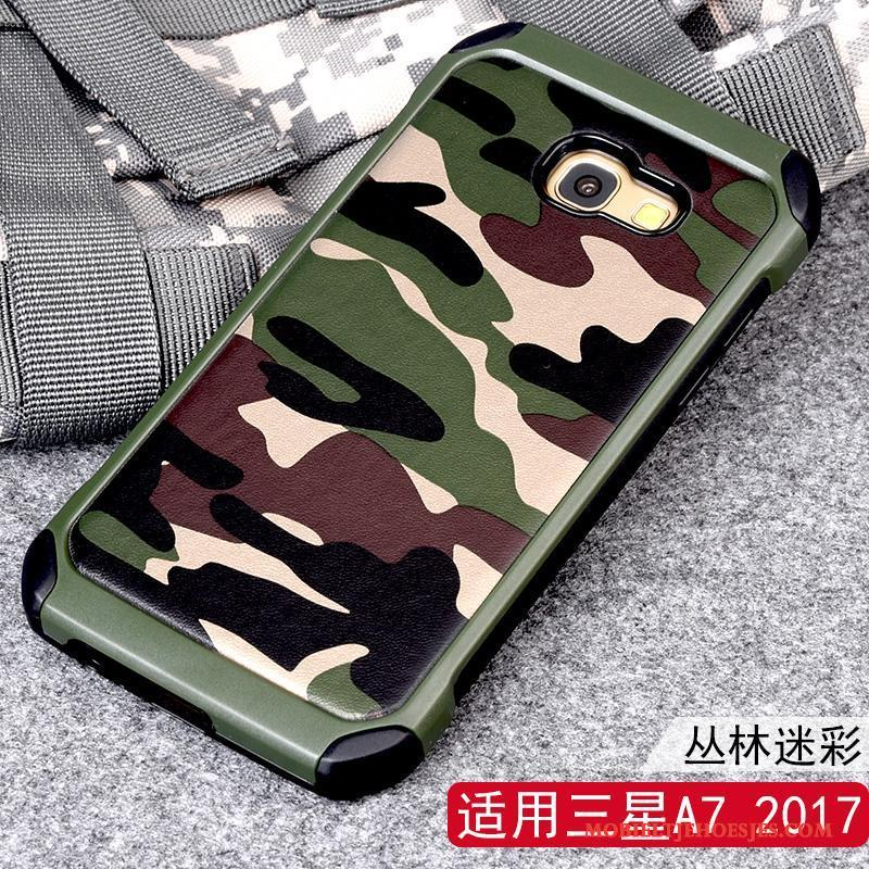 Samsung Galaxy A7 2017 Hoesje Ring Camouflage Anti-fall Bescherming Hoes Ster Ondersteuning