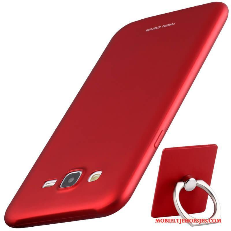 Samsung Galaxy J7 2015 All Inclusive Siliconen Rood Ster Hoesje Telefoon Zacht