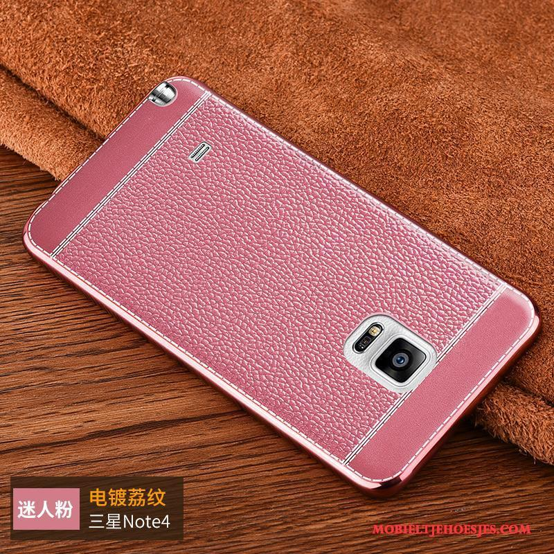 Samsung Galaxy Note 4 Hoesje Persoonlijk Hoes Roze Ster Siliconen Bescherming Anti-fall