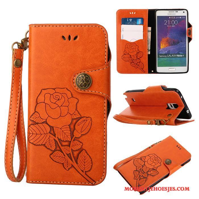Samsung Galaxy Note 4 Zacht Hoes Hoesje Telefoon Clamshell Ster Siliconen Oranje