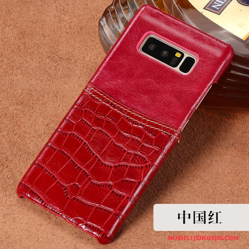 Samsung Galaxy Note 8 Hoesje Bescherming Hoes Echt Leer Anti-fall Rood Luxe Ster