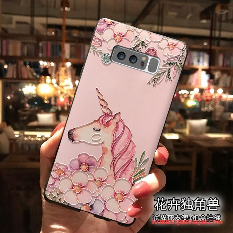 Samsung Galaxy Note 8 Persoonlijk Siliconen Hoesje Telefoon Ster Roze Mooie Hanger