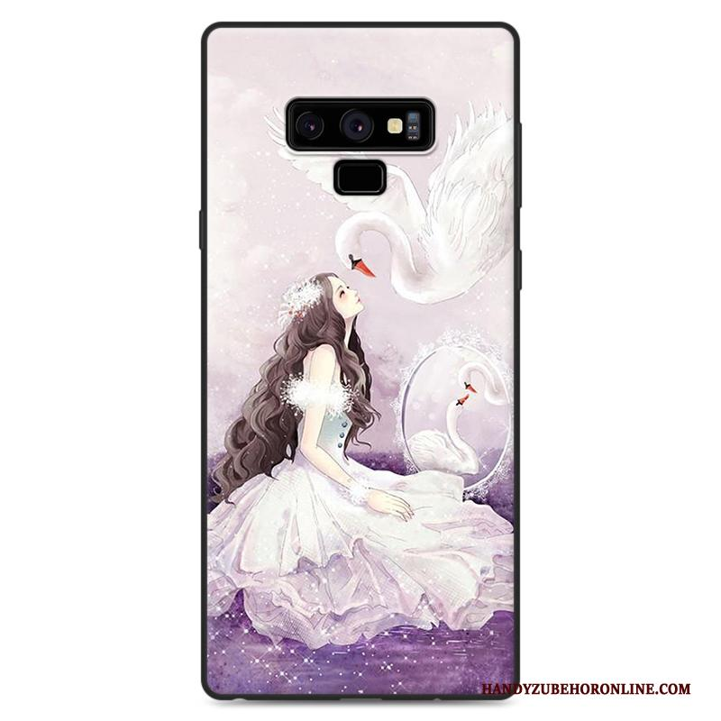 Samsung Galaxy Note 9 Purper Scheppend Spotprent Hoes Anti-fall All Inclusive Hoesje Telefoon