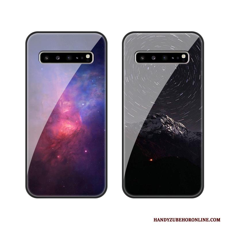 Samsung Galaxy S10 5g Hoesje Anti-fall Donkerblauw Ster Glas All Inclusive Bescherming Hoes