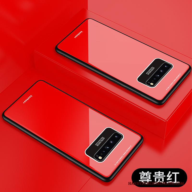 Samsung Galaxy S10 5g Hoesje Skärmskydd Rood Trend Glas Hard Ster Hoes