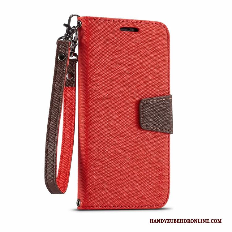Samsung Galaxy S10 5g Leren Etui Canvas Rood Ster Hoesje Telefoon Clamshell