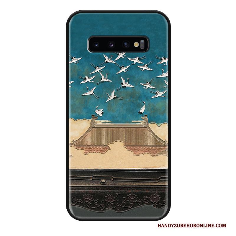 Samsung Galaxy S10 Hoesje Reliëf Siliconen Scheppend Anti-fall Ster Chinese Stijl Hoes