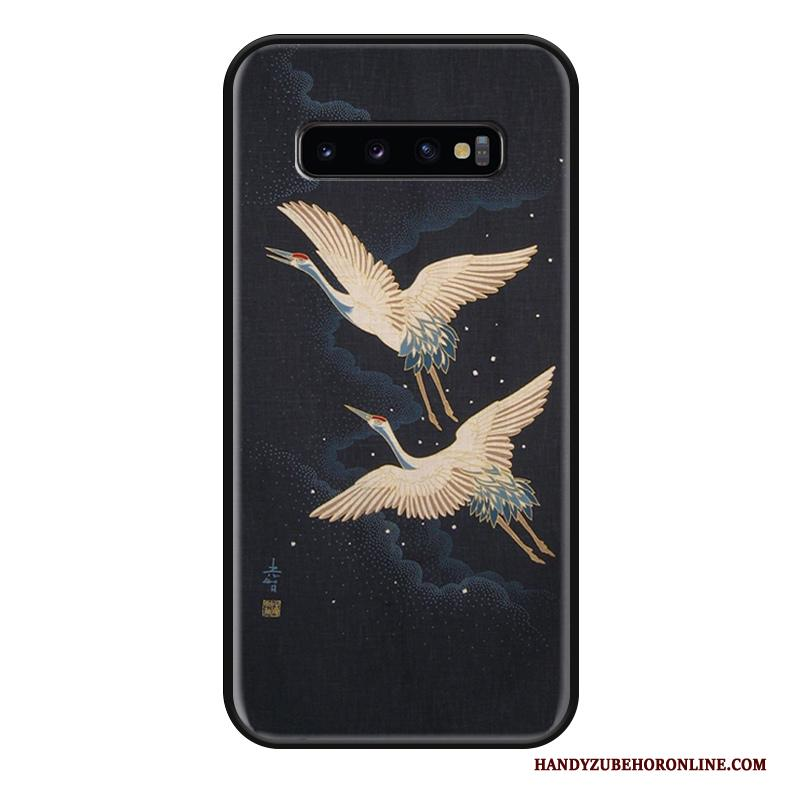 Samsung Galaxy S10 Reliëf Anti-fall Siliconen Hoesje Telefoon Karper Chinese Stijl Wit
