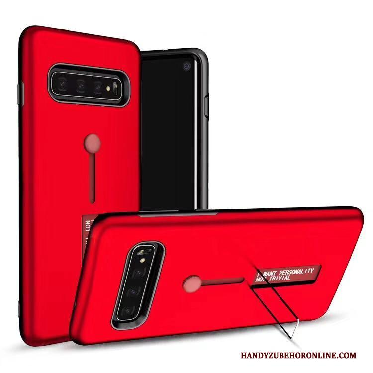 Samsung Galaxy S10 Rood Hoes Hoesje Telefoon Ondersteuning Ring Ster Bescherming