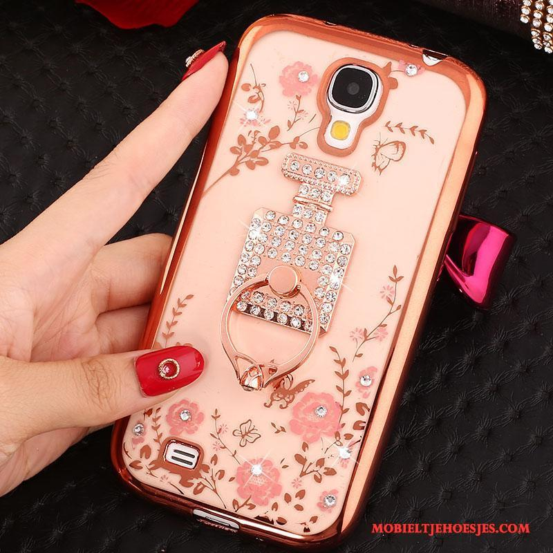 Samsung Galaxy S4 Hoesje Telefoon Met Strass Rose Goud Ster Siliconen Ring