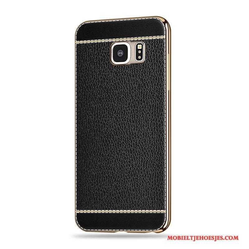 Samsung Galaxy S6 Siliconen All Inclusive Plating Patroon Anti-fall Hoesje Telefoon Zwart