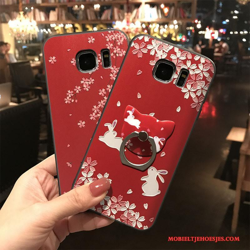 Samsung Galaxy S7 Edge All Inclusive Hoes Siliconen Rood Hoesje Telefoon Ster Hanger