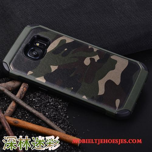 Samsung Galaxy S7 Edge Hoes Hoesje Telefoon Siliconen Ster Anti-fall Groen Camouflage