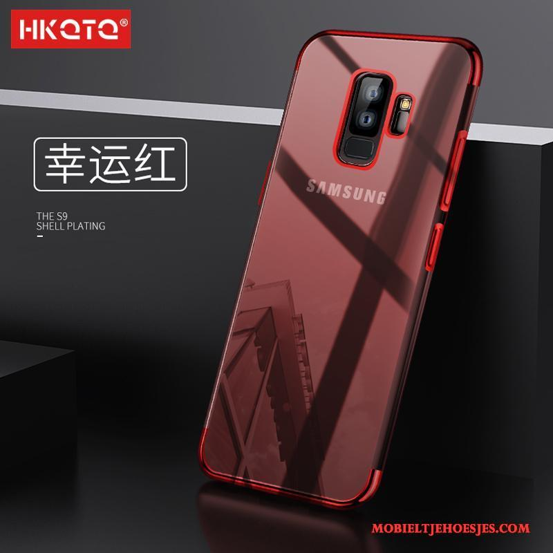 Samsung Galaxy S9+ Siliconen Bescherming All Inclusive Hoesje Telefoon Rood Ster Anti-fall