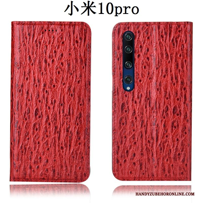 Xiaomi Mi 10 Pro Hoesje Mini Leren Etui Anti-fall Hoes Patroon Folio Rood