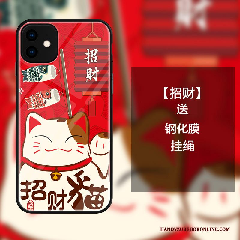 iPhone 11 Hoesje All Inclusive Kat Glas Mooie Hoes Rood Rijkdom