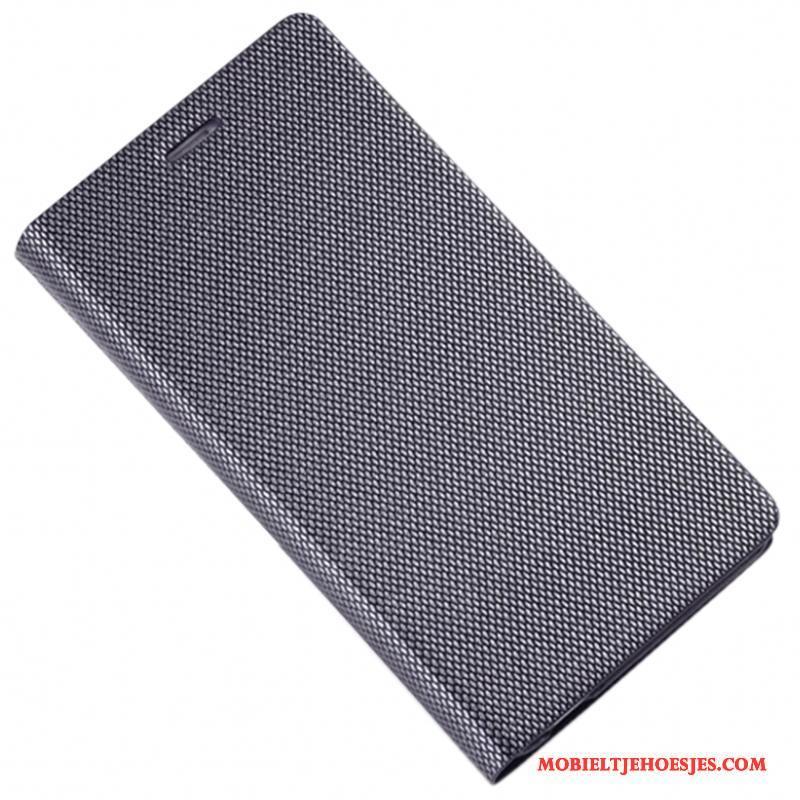 iPhone 7 Plus Hoesje Bedrijf Leren Etui Hoes Bescherming Leer Zilver Folio