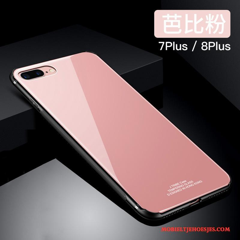 iPhone 8 Plus Siliconen Glas Trend Anti-fall Roze Hoesje Telefoon All Inclusive