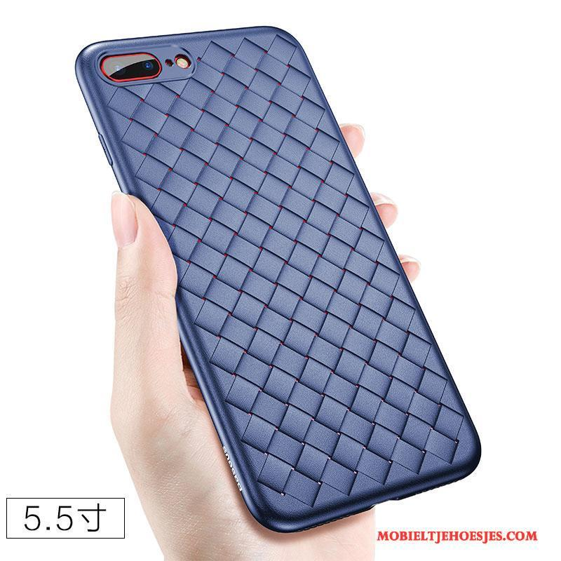iPhone 8 Plus Zacht Trend Anti-fall All Inclusive Blauw Siliconen Hoesje