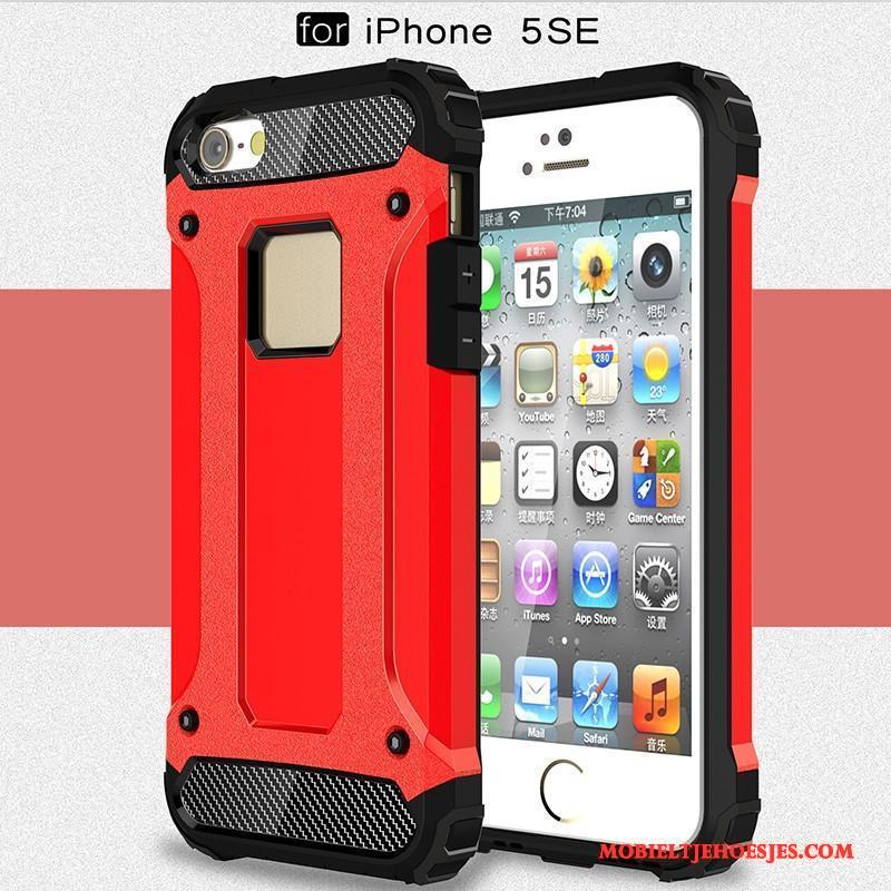 iPhone Se Hoes Siliconen Hoesje Telefoon All Inclusive Rood Anti-fall Zwart