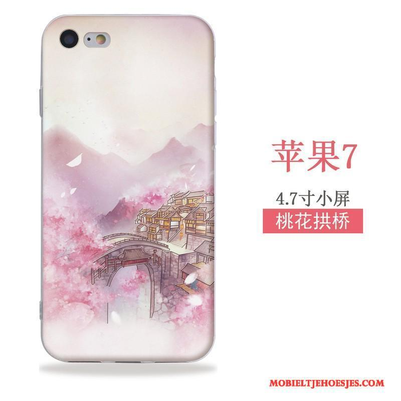 iPhone Se Hoesje Wind Chinese Stijl Reliëf Hanger Siliconen Zacht Hoes
