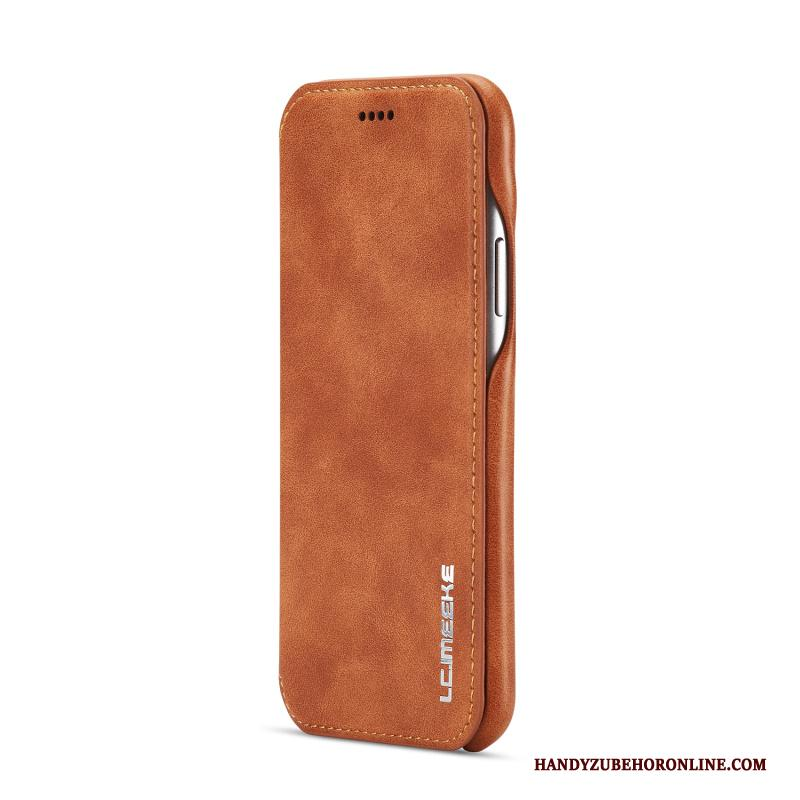 iPhone Xr Hoesje Anti-fall Echt Leer Leren Etui Hoes Linnen All Inclusive Folio