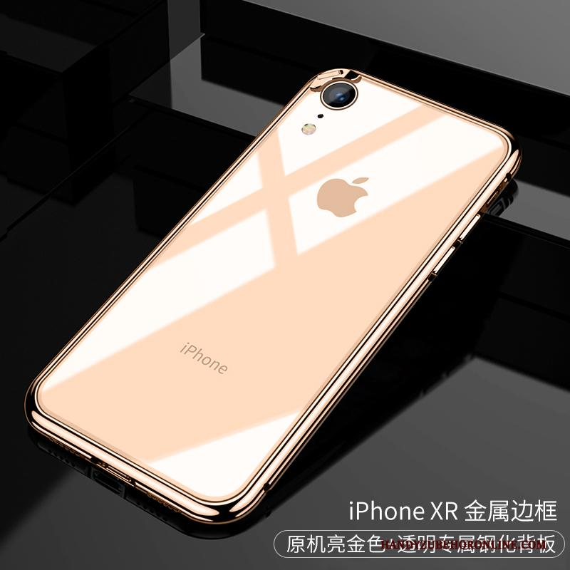 iPhone Xr Hoesje Doorzichtig Hoes High End Anti-fall Goud Trendy Merk Bescherming
