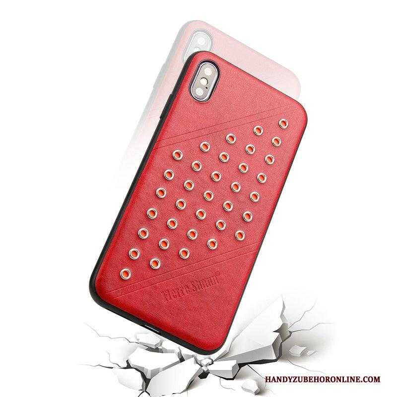 iPhone Xs Anti-fall Bescherming Leren Etui Rood Hoesje Telefoon Ster Europa