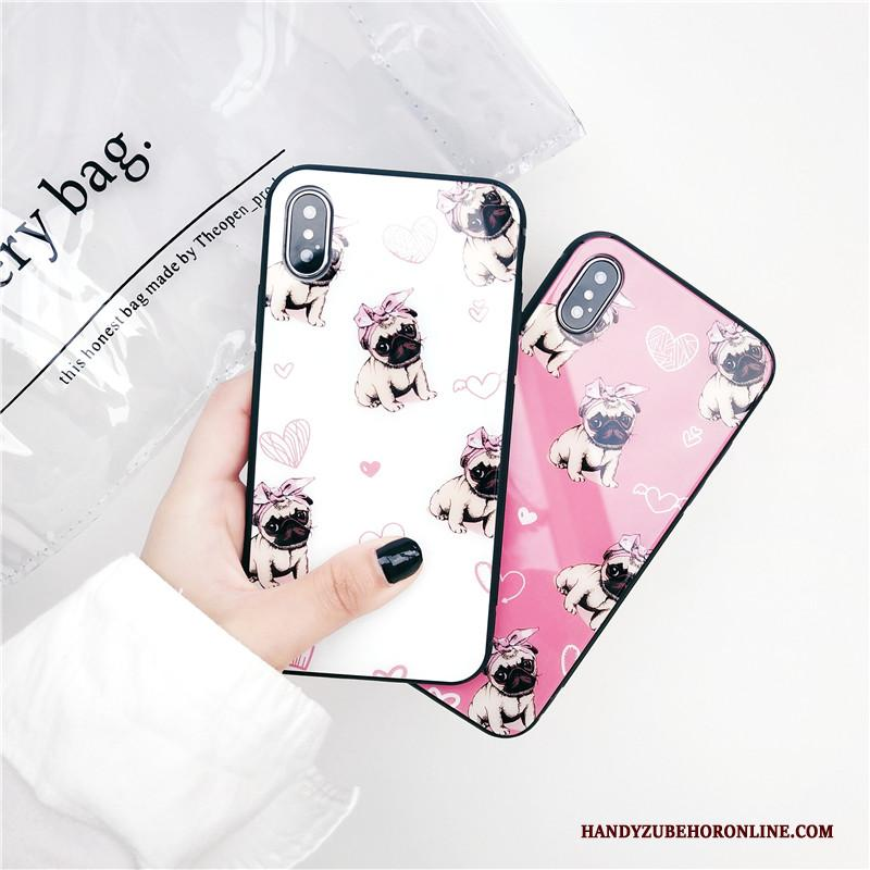 iPhone Xs Glas Hard Hoesje Trendy Merk Net Red All Inclusive Roze