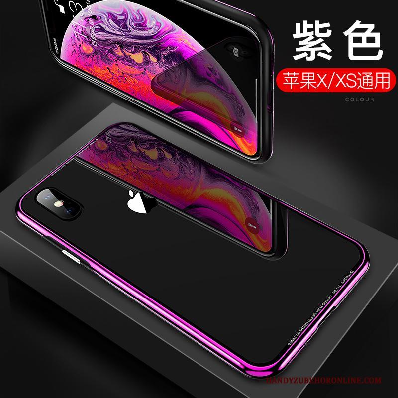 iPhone Xs Glas Purper Hoes Hoesje Telefoon Trendy Merk Nieuw Metaal
