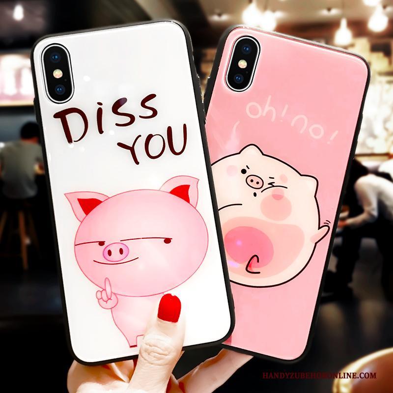 iPhone Xs Glas Zacht Hoesje Telefoon Lovers Spotprent Wit Bescherming