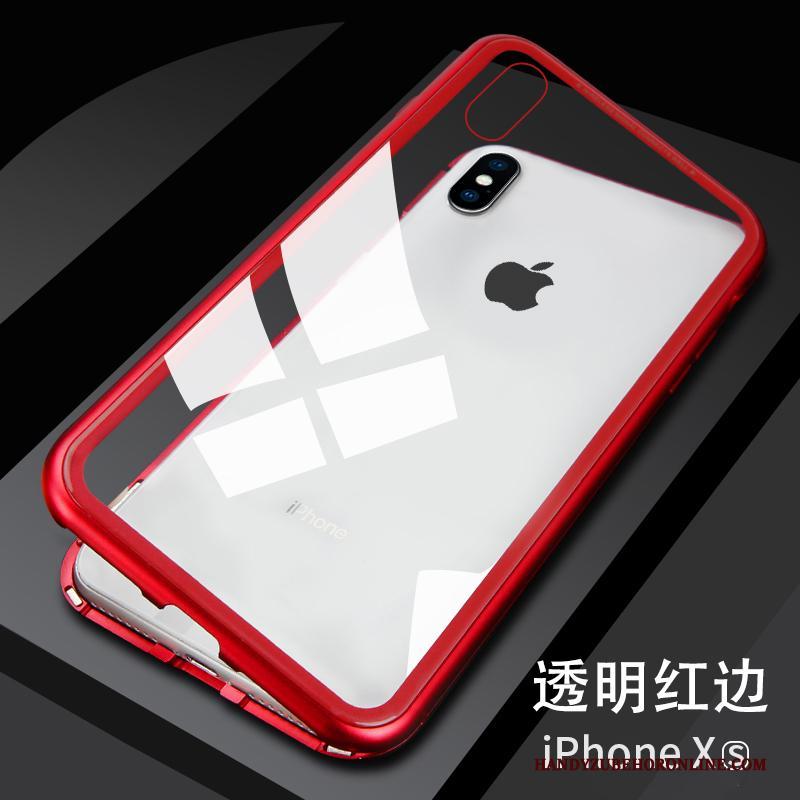 iPhone Xs Nieuw Glas Metaal Hoesje Telefoon Rood Net Red Anti-fall