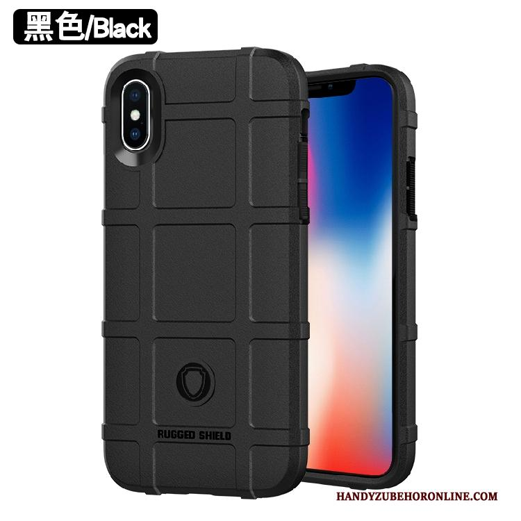 iPhone Xs Siliconen Hoes Zwart Persoonlijk Anti-fall All Inclusive Hoesje Telefoon